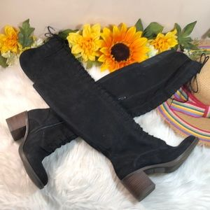 LUCKY BRAND LACE UP OVER THE KNEE BOOTS 6.5